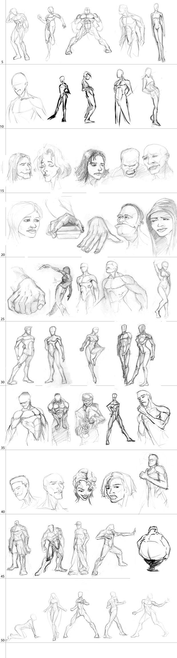Spartan Camp #21 - 50 gestures + Optional Study of an action pose: Jump