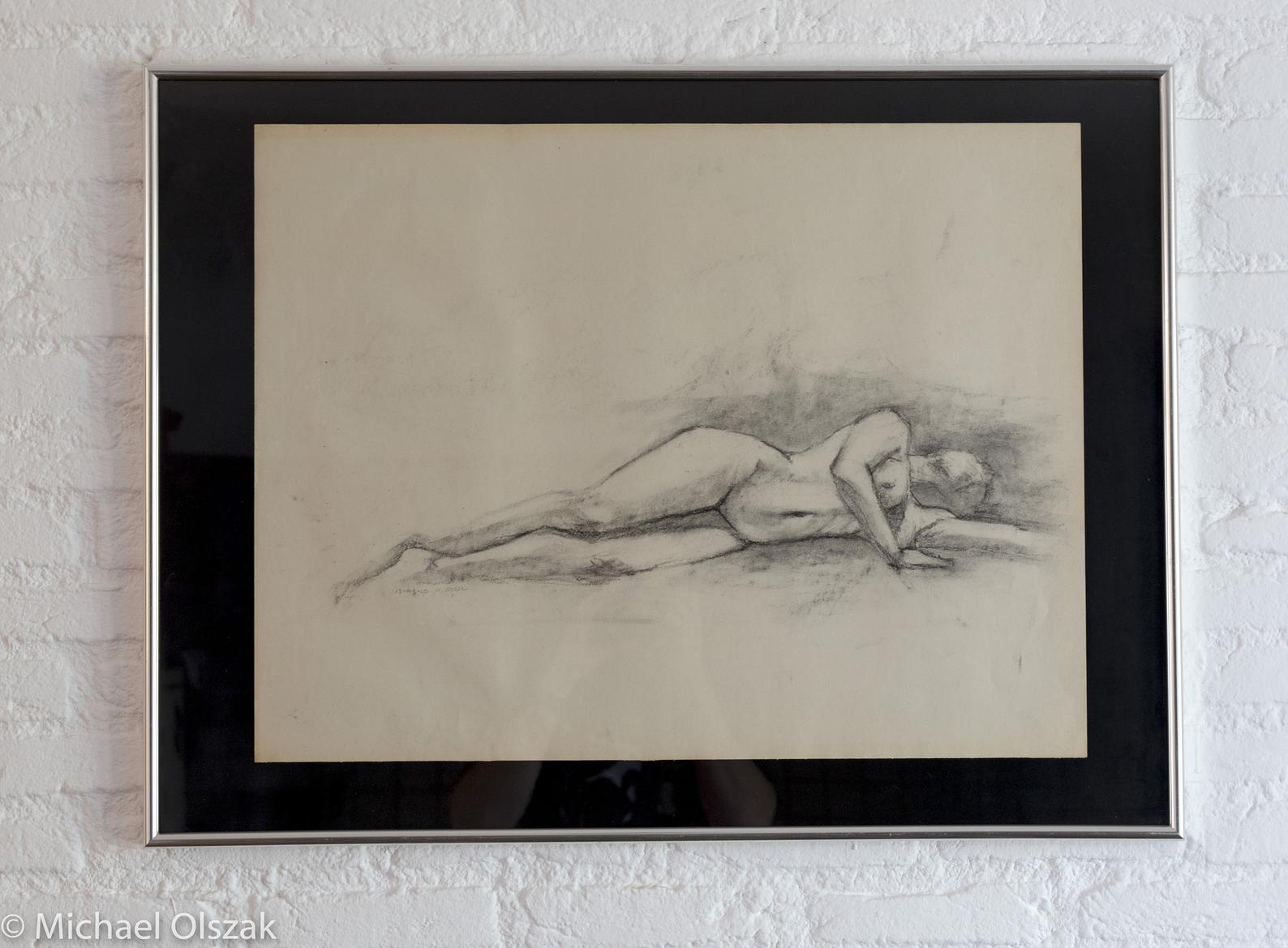 Female figure drawing charcoal